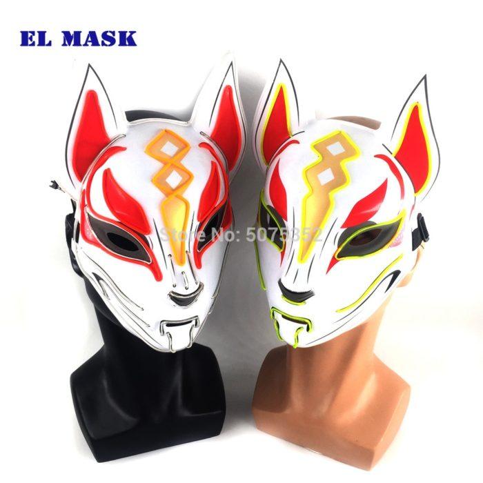 Anime Expro Decor Japanischen Fuchs Maske Neon Led Licht Cosplay Maske Halloween Party Rave Led Maske Dance DJ Payday Kostüm requisiten 6