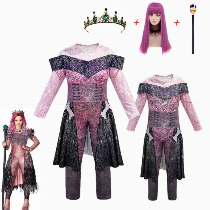 Rosa Audrey Kostüme mädchen Halloween Kostüme für Kinder Phantasie Party frauen Kostüm evie nachkommen 3 Mal Cosplay Fantasia kostüme 1