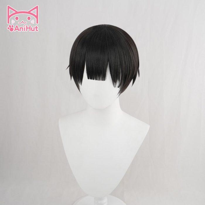 【AniHut】Yugi Amane Perücke Wc-gebunden Hanako-kun Cosplay Hitze Beständig Synthetische Schwarz Yugi Amane Haar 3