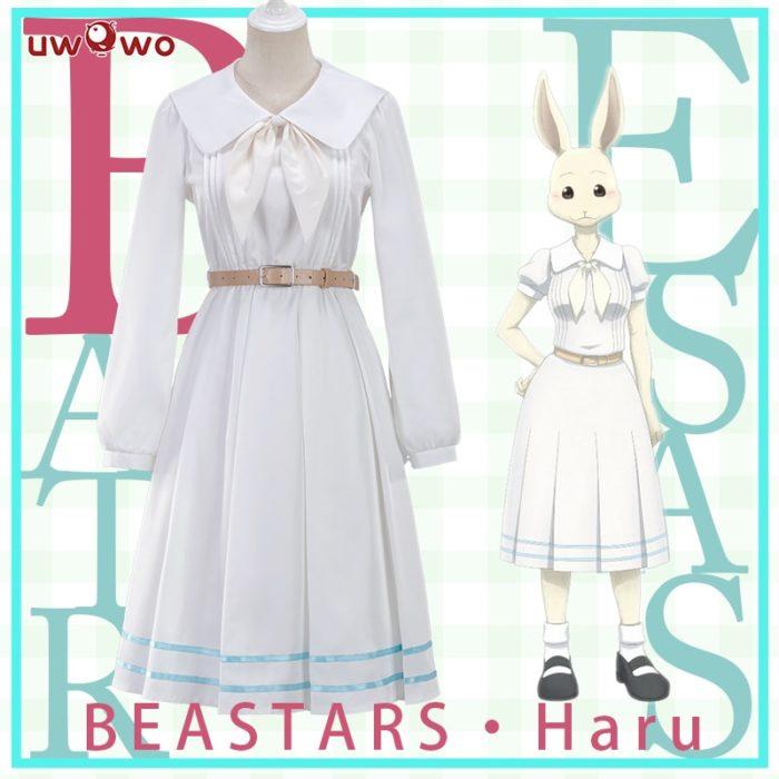 UWOWO Anime Beastars Haru Cosplay Kostüm Uniform Weiß Kaninchen Tier Nette Kleid 1