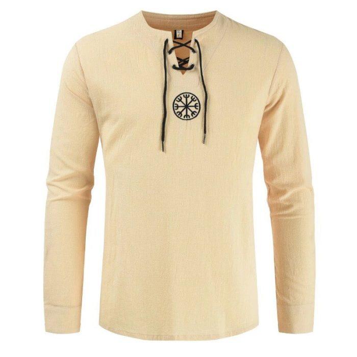 Mittelalterlichen Viking Pirate Leinen Top Hemd Kostüm Herren Nordic Krieger Retro T-shirt Bart Cosplay T Stickerei Für Erwachsene 4XL 5XL 5