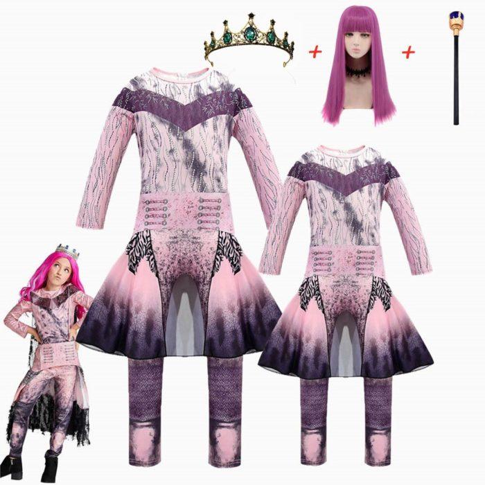 Rosa Audrey Kostüme mädchen Halloween Kostüme für Kinder Phantasie Party frauen Kostüm evie nachkommen 3 Mal Cosplay Fantasia kostüme 3