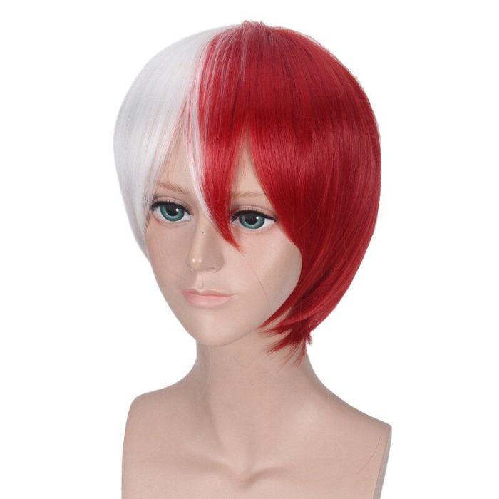 Cosplay Perücke Meine Hero Wissenschaft Boku keine Hiro Akademia Shoto Todoroki Shouto Weiß Und Rot Kopf Kostüm 6