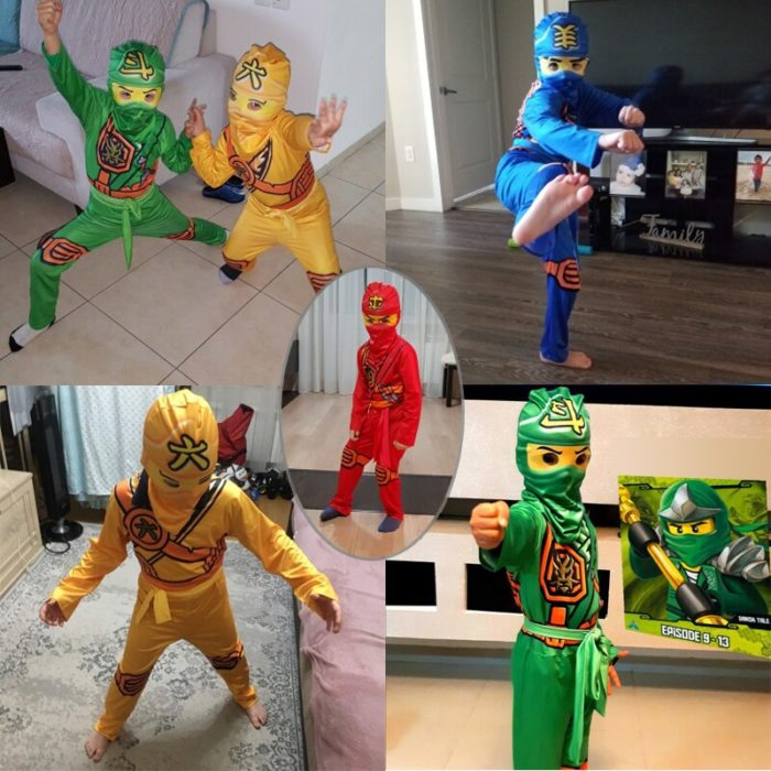 Ninjago Kostüm Jungen Kostüme Kinder Phantasie Party Kleid Up Karneval Halloween Kostüm für Kinder Ninja Cosplay Superhero Overall 4