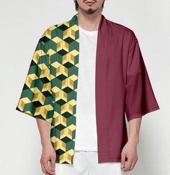 Unisex Dämon Slayer Kimetsu keine Yaiba Zeichen Cosplay Kimono Haori Mantel Shirt 9
