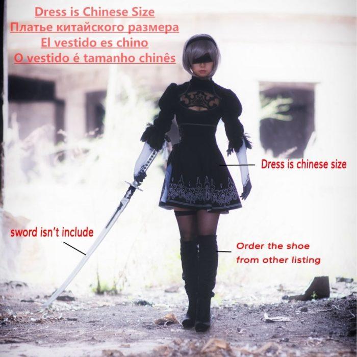 Chinesische Größe Nier Automata Yorha 2B Cosplay Anzug Anime Frauen Outfit Disguise Kostüm Set Phantasie Halloween Mädchen Party Schwarz Kleid 2