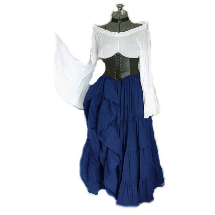 2020 neue Halloween Frauen Medieval Cosplay Kostüme Gothic Retro Victoria Mittelalter Karneval Langarm Plissee Korsett Kleid 4