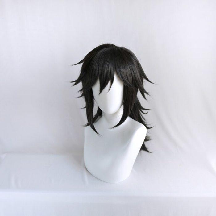 Dämon Slayer Kimetsu keine Yaiba Tomioka Giyuu Schwarz Pferdeschwanz Perücke Cosplay Kostüm Männer Frauen Hitze Beständig Synthetische Haar Perücken 3