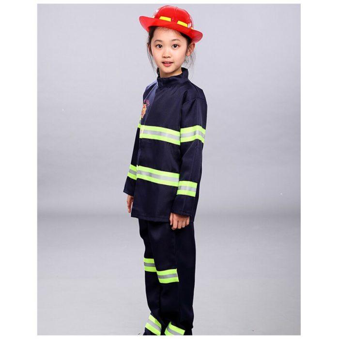 Kinder Feuerwehr Kostüme Baby Jungen Kleidung Set Halloween Party Cosplay Roleplay Feuerwehrmann Kostüme für Teenager Jungen mit Gürtel 6
