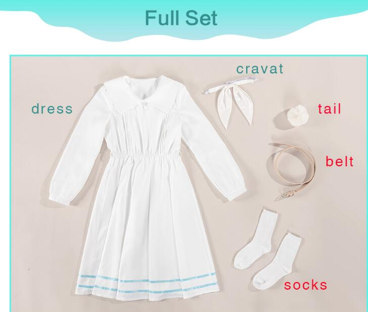 UWOWO Anime Beastars Haru Cosplay Kostüm Uniform Weiß Kaninchen Tier Nette Kleid 9