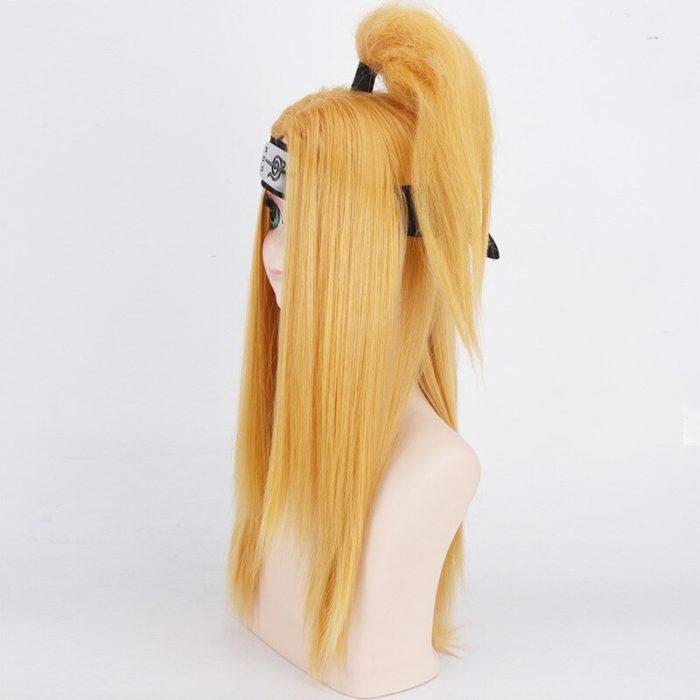Naruto Akactuki Cosplay perücken halloween Deidara cosplay perücke für männer Lange Gold perücken haarteil kostüm 6
