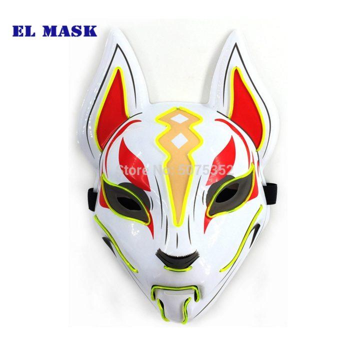 Anime Expro Decor Japanischen Fuchs Maske Neon Led Licht Cosplay Maske Halloween Party Rave Led Maske Dance DJ Payday Kostüm requisiten 2