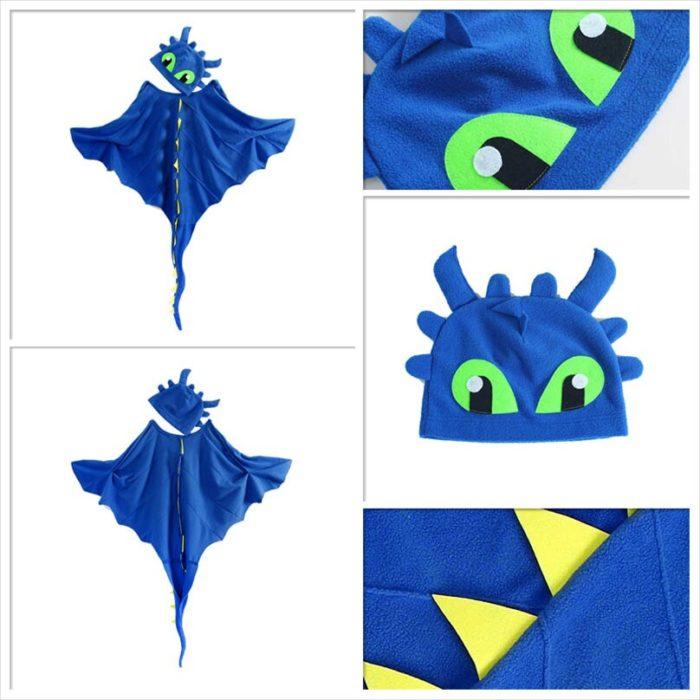 Drachen Kostüm Mantel mit Hut Zahnlos Drache Kostüm Cape Anime Cosplay Kostüme Dinosaurier Kostüm 2