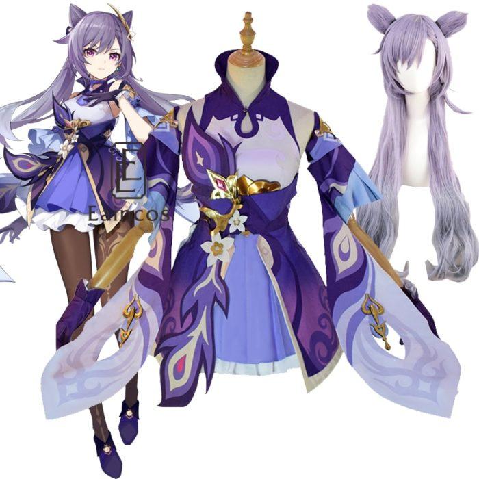 Spiel Genshin Auswirkungen Keqing Cosplay Kostüm Perücken Schuhe KEQING Kleid Anime Uniformen Frauen Halloween Kleidung 1