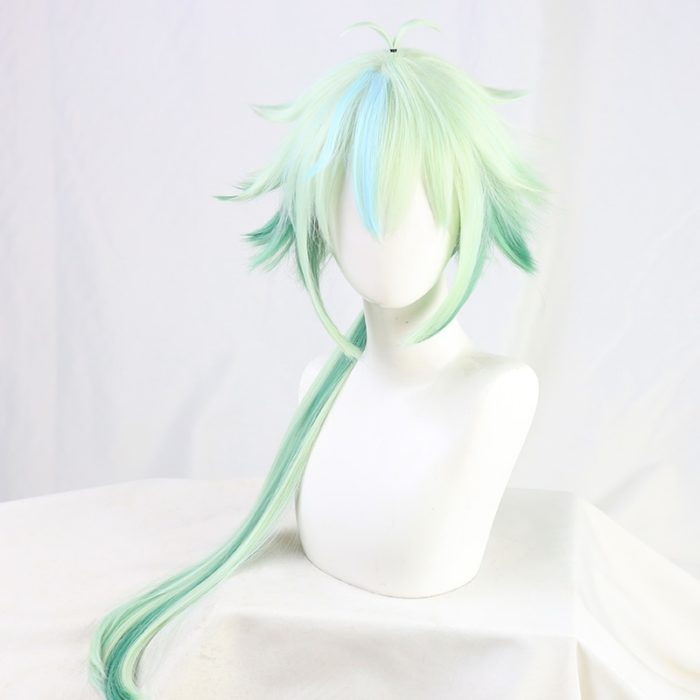 Sucrose Genshin Impact Green Mixed Long Straight Cosplay Heat Resistant Synthetic Hair Halloween Carnival Party + Free Wig Cap 2