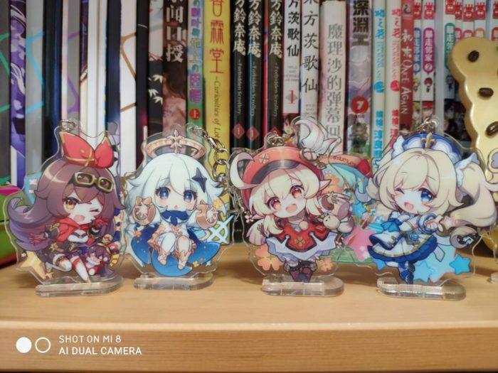 2020 Anime Genshin Auswirkungen Bernstein Klee Paimon Keychain Rasiermesser Acryl Stand Modell Platte Schlüsselring Cosplay Tasche Anhänger Spielzeug Geschenk 5