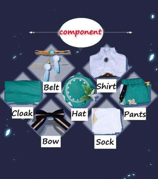 2020 neue Spiel Genshin Auswirkungen cosplay Anime Zubehör Projekt VENTI Cosplay Kostüm frauen Mantel Hemd Hosen Gürtel Socken Set 6