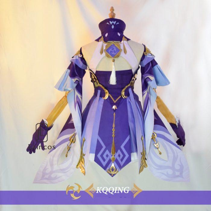 Spiel Genshin Auswirkungen Keqing Cosplay Kostüm Perücken Schuhe KEQING Kleid Anime Uniformen Frauen Halloween Kleidung 4
