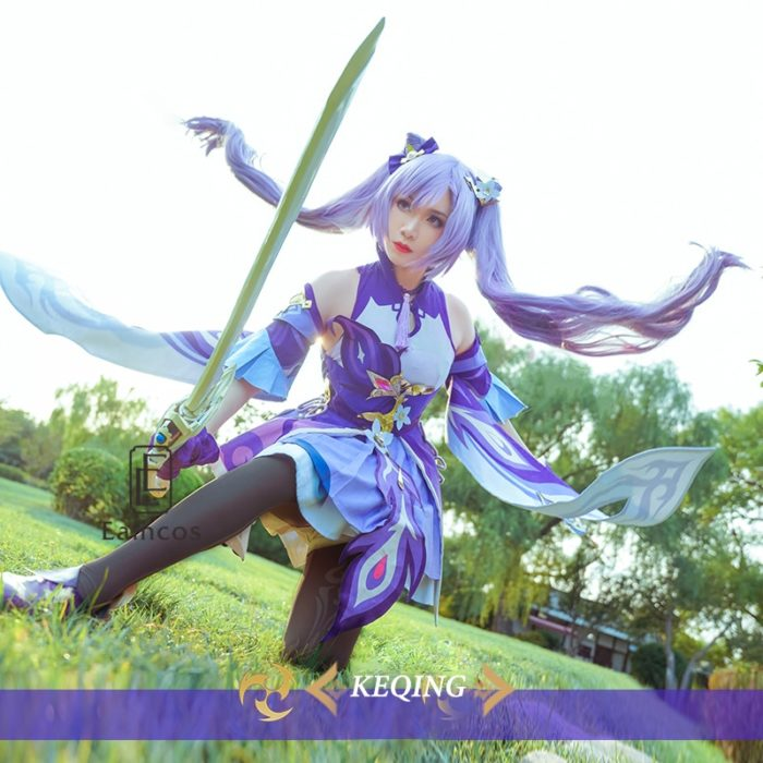 Spiel Genshin Auswirkungen Keqing Cosplay Kostüm Perücken Schuhe KEQING Kleid Anime Uniformen Frauen Halloween Kleidung 2