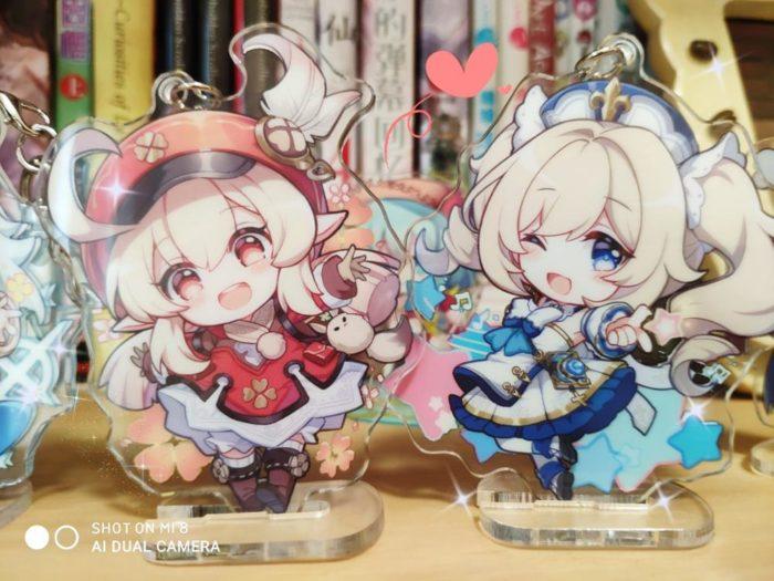 2020 Anime Genshin Auswirkungen Bernstein Klee Paimon Keychain Rasiermesser Acryl Stand Modell Platte Schlüsselring Cosplay Tasche Anhänger Spielzeug Geschenk 4