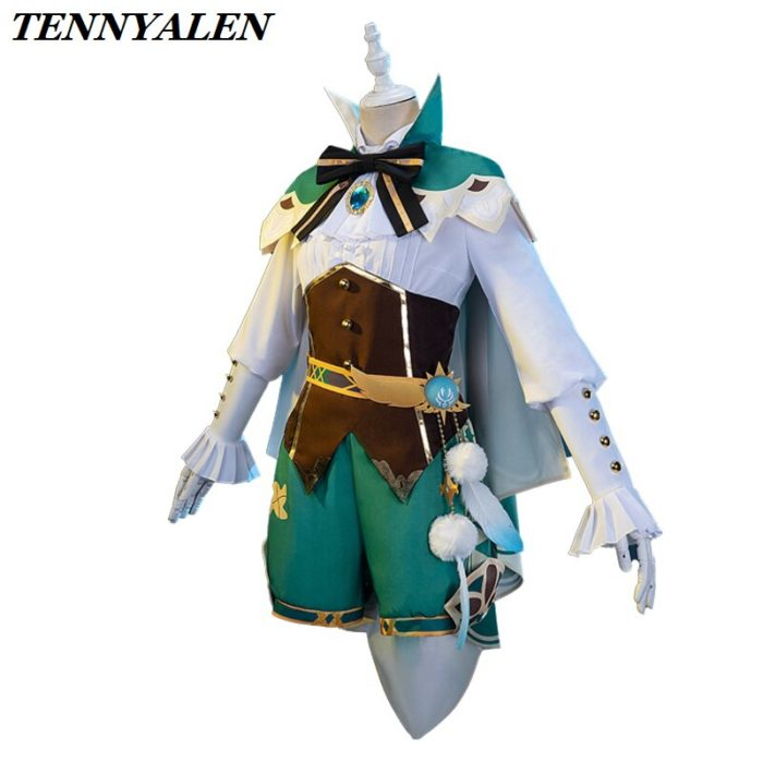 2020 neue Spiel Genshin Auswirkungen cosplay Anime Zubehör Projekt VENTI Cosplay Kostüm frauen Mantel Hemd Hosen Gürtel Socken Set 2