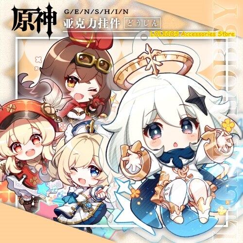 2020 Anime Genshin Auswirkungen Bernstein Klee Paimon Keychain Rasiermesser Acryl Stand Modell Platte Schlüsselring Cosplay Tasche Anhänger Spielzeug Geschenk 2