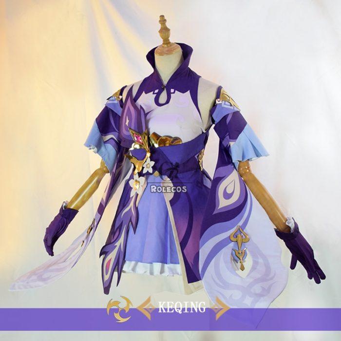 ROLECOS Spiel Genshin Auswirkungen Keqing Cosplay Kostüm Genshin Auswirkungen Cosplay KEQING Kostüm Kleid Uniformen Frauen Halloween Full Set 3