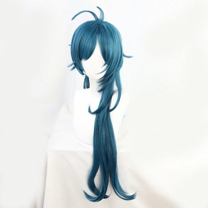 Genshin Auswirkungen Kaeya Grün Blau Wellenförmige Lange Cosplay Hitze Beständig Synthetische Haar Halloween Karneval Party + Free Perücke Kappe 2