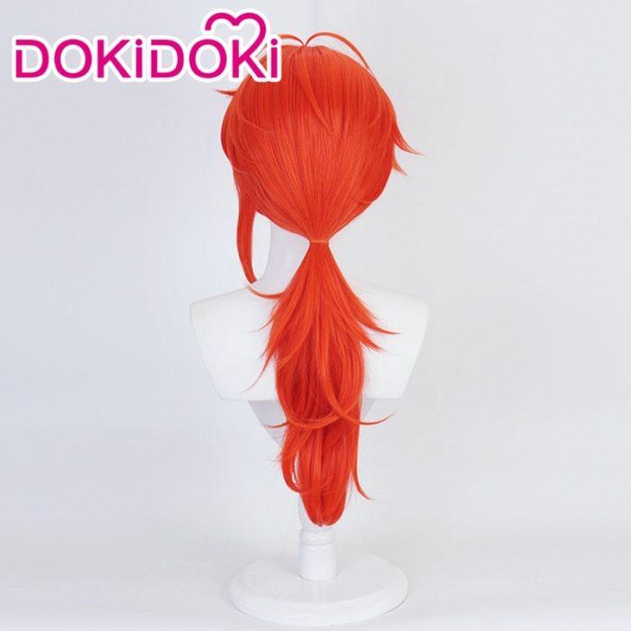 DokiDoki Spiel Genshin Auswirkungen Cosplay Halloween Diluc Cosplay Perücke Genshin Auswirkungen Diluc Cosplay Haar 4