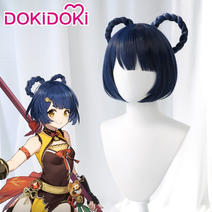 DokiDoki Spiel Genshin Auswirkungen Cosplay Halloween Xiangling Cosplay Perücke Genshin Auswirkungen Xiang ling Cosplay Haar 1