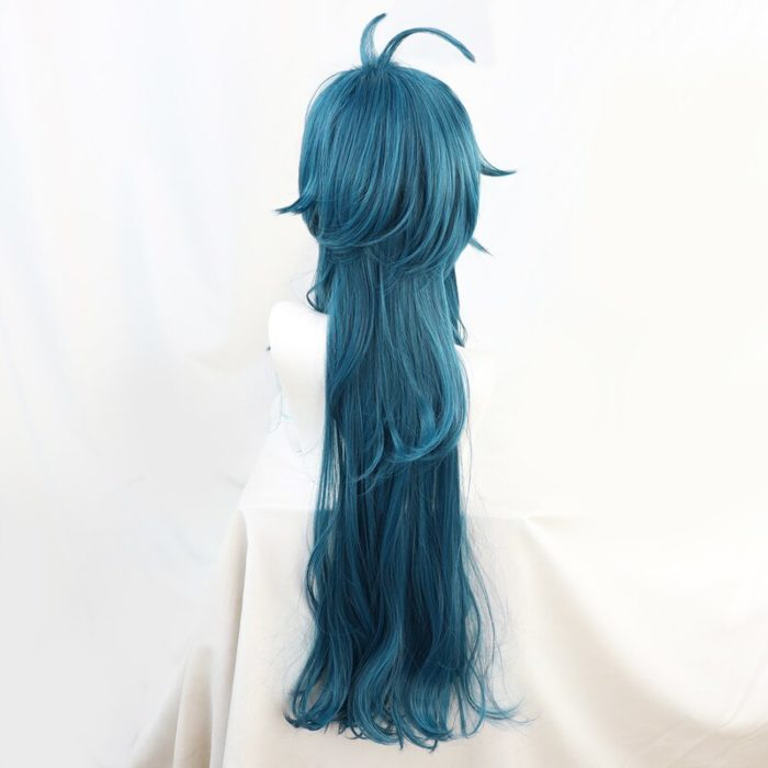 Genshin Auswirkungen Kaeya Grün Blau Wellenförmige Lange Cosplay Hitze Beständig Synthetische Haar Halloween Karneval Party + Free Perücke Kappe 4