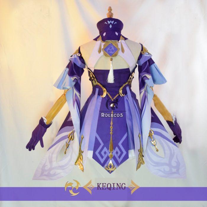 ROLECOS Spiel Genshin Auswirkungen Keqing Cosplay Kostüm Genshin Auswirkungen Cosplay KEQING Kostüm Kleid Uniformen Frauen Halloween Full Set 4