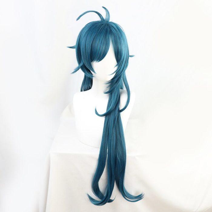 Genshin Auswirkungen Kaeya Grün Blau Wellenförmige Lange Cosplay Hitze Beständig Synthetische Haar Halloween Karneval Party + Free Perücke Kappe 3