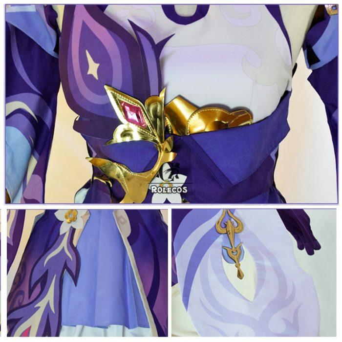 ROLECOS Spiel Genshin Auswirkungen Keqing Cosplay Kostüm Genshin Auswirkungen Cosplay KEQING Kostüm Kleid Uniformen Frauen Halloween Full Set 5