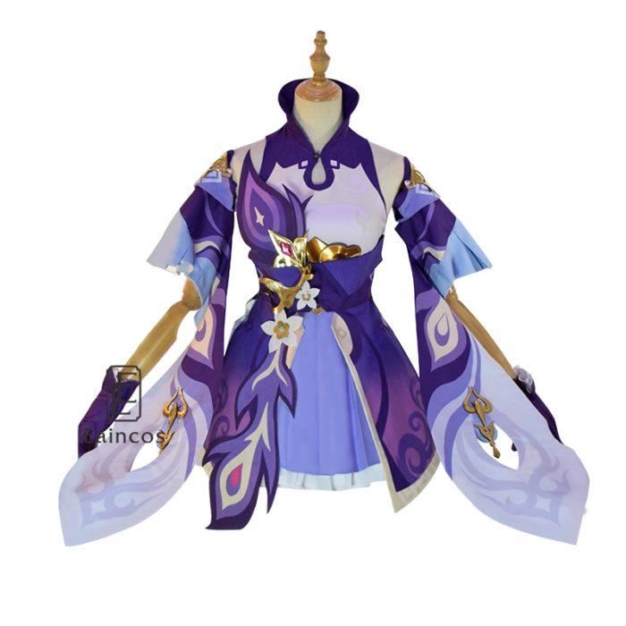 Spiel Genshin Auswirkungen Keqing Cosplay Kostüm Perücken Schuhe KEQING Kleid Anime Uniformen Frauen Halloween Kleidung 3